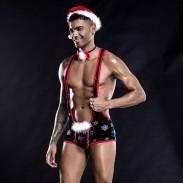 Sexy siamesischen Weihnachtskostüm Bodysuit für Mann Bar Nachtclub Bühnenkostüme Cosplay Halfter Teddy Herren Dessous