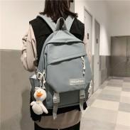 Frisch Doppelschnalle Dekor Wasserdichte Büchertasche für Mädchen Plus Size Freizeit Junior Schultasche Schülerrucksack