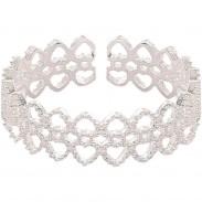 Luxus Spitze Exquisites Hohles Liebesherz Romantisches Geschenk Offener Silberner Damenring