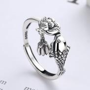 Retro Fisch Kuss Lotus Quaste Anhänger Verstellbare Größe Offener Ring Für Frauen Tierringe