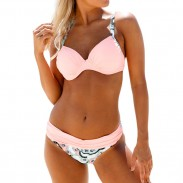 Sexy Gestreift Übergang Gurt Bikini Kontrastfarbe Schlinge Badeanzug