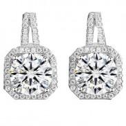 Leuchtenden Silber Luxus Diamant-umrandet Achteck Damen Ohrstecker