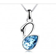 Hübsch Kleine Schwan Kristall Anhänger-Halskette