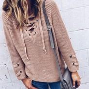 Mode Damen Schnür-V-Ausschnitt Gemusterter Pullover