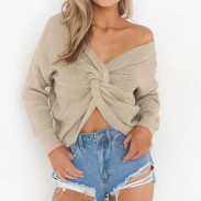 Damen V-Ausschnitt Pullover Bare Midriff Knot aushöhlen Halter Reißverschluss Sexy Sweatshirt