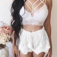 Sexy Gittergewebe Lace Gathering Camisoles Bra Intimate Damen Dessous