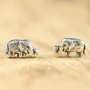 Retro Handgemachte Nette Elefant-silberne Frauen böhmische Nationaler Stil Ohrstecker