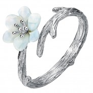 Handgefertigte Silberperle Schalentiere Kirsche imitieren Zweig Linien Ring Offener Ring