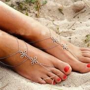 Retro Drei Schichten Knoten Einfache Zehe Klee Fußschmuck Kette Fußkettchen