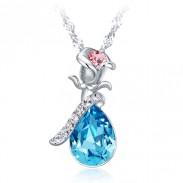 Mode Silber Rose Kristall Halskette