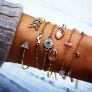 Art und Weisekompaß zerquetschter Stein V Art Pfeil Sechsteiliges geöffnetes Frauen-Armband