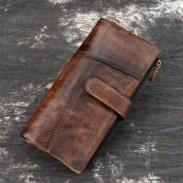 Freizeit Original handgemachte lange Nähte echte Vintage Geldbörse Leder Geldbörse Unterarmtasche
