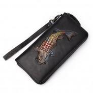 Retro Original Goldfisch handgemachte Geldbörse 3D Fisch geprägt lange Brieftasche Unterarmtasche