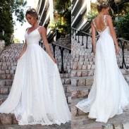 Elegante Spitze Ärmellose Party Brautjungfernkleid Weiß Langes Kleid V-Ausschnitt Brautkleid