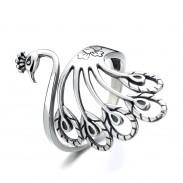Retro Pfauenform verstellbarer Ring Tierring Offene silberne geflochtene Fingerringe