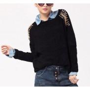 Vintage Style Nieten lose Fledermaus Ärmel Pullover & Strickjacke