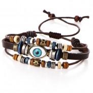 Retro Multi-Layer verstellbare Augen Perlen handgewebte ethnische Augapfel Lederarmband