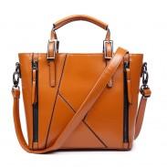 Mode Geometrische Stitching Leder geprägt Handtasche Schultertasche