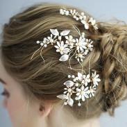 Süße handgemachte Brautjungfer Perle Blume Zweig Haarnadel Braut Braut Haarschmuck