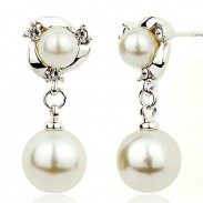 Mode Perlen Ohren fallen Anmutig Ohrclip Diamant-umrandet Perlen Silber Frau Ohrstecker