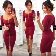 Sexy Frauen Dreiviertel Ärmel Ganze Farbe Reißverschluss Paket Hüfte Rock Kleid