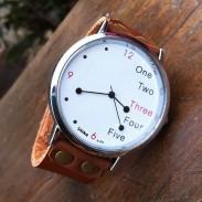 Lustige weißes Zifferblatt Leder Uhr