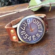 Handgemachtes Groß Konvex Wählen Retro Leder Uhr