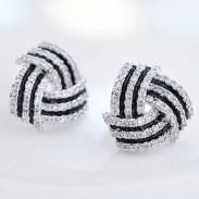 Glänzende Diamant-umrandete geschichtete geometrische Muster-Spirale Silber-Frauen-Ohrring-Bolzen