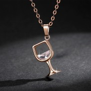 Cute Red Wine Glass Zircon Cup Pendant Women's Necklace