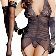 Sexy Mesh Backless Falten Hosenträger Kleid Frauen V-Ausschnitt Dessous