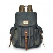 Retro-Denim-Schultertasche mit mehreren Taschen Freizeit Reise Rucksack