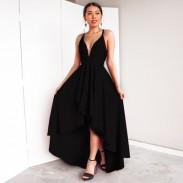 Elegante Frauen tiefe V-Neck Straps Sexy Hoch niedrig Abschlussball Kleider Partykleid