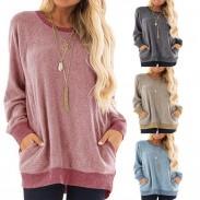 Freizeit Langarm Rundhals Pullover Sweatshirt T-Shirt Tops Großer loser Frauen Mantel