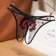 Sexy Mesh Stickerei Schritt öffnen T Hosen Damen Dessous Transparente Blumen Höschen