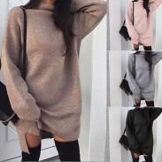 Mode lässig große Größe lose stricken Stehkragen Damen Split Kleid