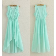 Mode Perspektive Tadellose grüne Unregelmäßige Chiffon-Kleid