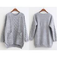 Schlitzseiten verdicken College-Stil Pullover