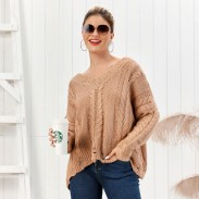 Freizeit Strick Langarm V-Ausschnitt Twist Strickjacke Kaffee Lose Frauen Pullover