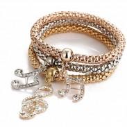 Art- und Weiseanker-Elefant-Musikanmerkungs-Basisrecheneinheits-Kronen-Tropfen-mehrschichtiges Frauen-Armband
