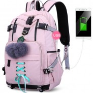 Freizeit USB-Schnittstelle Nylon Studententasche Mädchen wasserdichte Bandage Junior Hoch Schulrucksäcke
