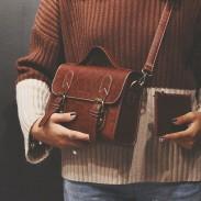 Retro Lady School Handtasche Double Button Schultertasche