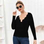 Freizeit reine Farbe stricken schlanke V-Ausschnitt mit langen Ärmeln Strickjacke Herbst Winter Frauen Pullover