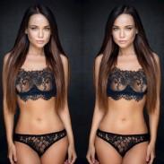 Sexy Versuchung Wimpern Spitzen BH Set schwarz Perspektive Unterwäsche Dessous