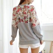 Süßes Spitzenblumen-lose Hülsen-Strickjacke-Shirt
