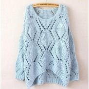 Freizeit Lose Rundhalsausschnitt Argyle Hollow Sweater