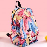Cool Plume Colorful Print Young Girl Feather High School Bag Student Backpack