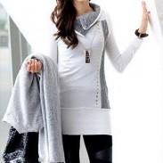 Elegante weiße Splice Rivet Langarm Revers Frauen Kleid