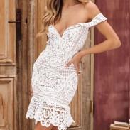 Sexy hohl v Form gewickelt Büste Spitze Sommerkleid