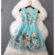 Klassische elegante gestickten Frauen dünnes Kleid