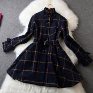 Frische klassischen Gitter Muster Wolle Gürtel Kleid